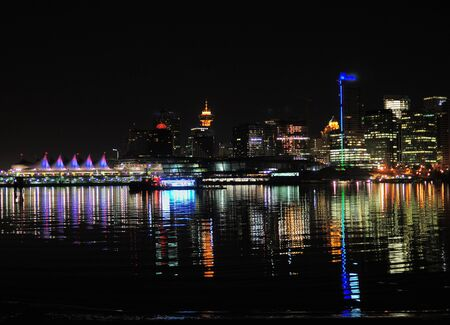 View From Stanley Park To The Skyline Of Vancouver At Night