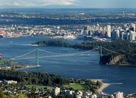 Bird's Eye View From Cypress Provincial Park To The Lion's Gate Bridge In Vancouver