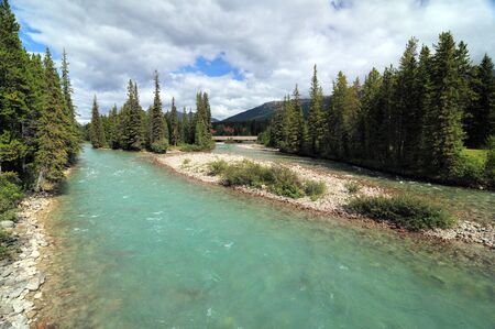 View On The Clear Bow River Near Lake Louise Village
