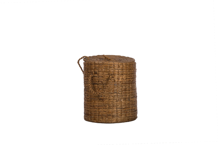 durable: Vintage wicker basket on isolated white background.