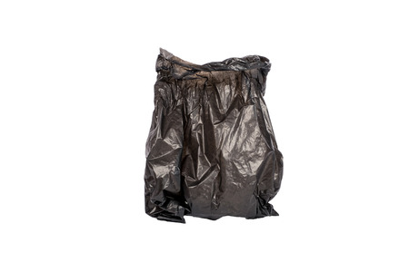 Black garbage bag isolated on white background with clipping path.