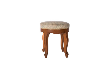 Vintage bedside stool chair isolated on white background with clipping path. Stock Photo