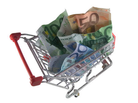 shopping cart with euro banknotes, isolated on white background