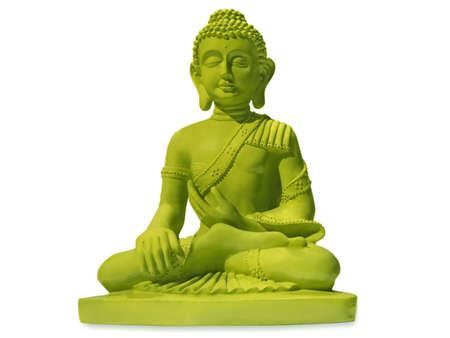 green buddha, isolated on white background