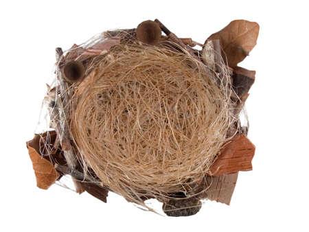 bird�s nest isolated on white background Stock Photo