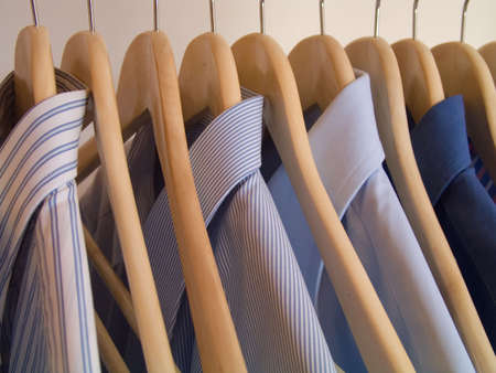 clothes hanger with business shirts, detail