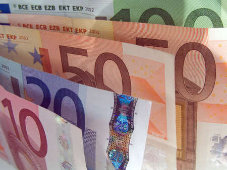 euro banknotes macro