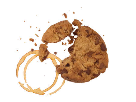 cookie with crumbs and coffee ring print, isolated on white background