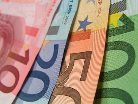 euro banknotes, detail, macro