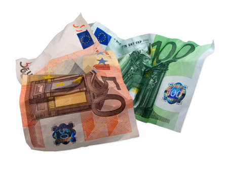 used euro banknotes Stock Photo