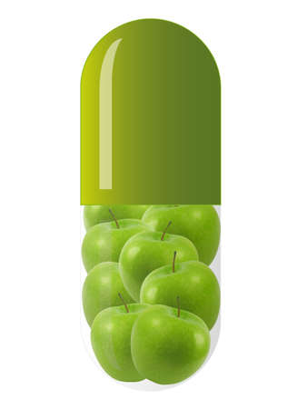 green capsule with green apples, isolated on white background
