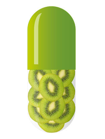 green capsule with kiwi slices, isolated on white background Stock Photo