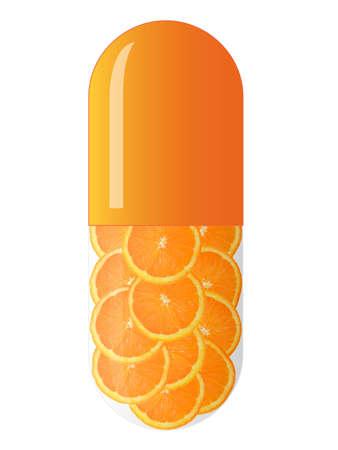 orange capsule with orange slices, isolated on white background