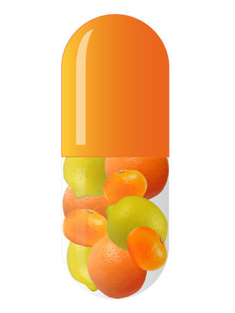 orange capsule with mixed fruits, isolated on white background
