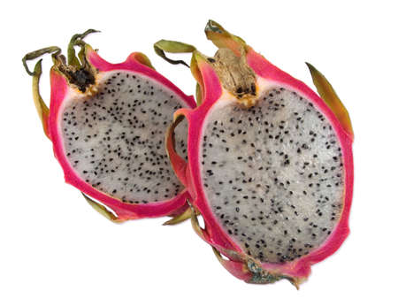 dragon fruit slices, isolated in white background
