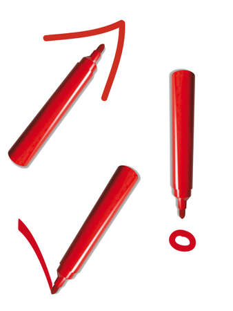 red pen writing signs, isolated on white background Stock Photo