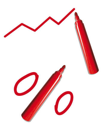 red pen with graph and percent sign, isolated on white background