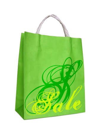 sale, green shopping bag, isolated on white background