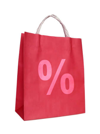 red shopping bag with percent sign, isolated on white background Stock Photo
