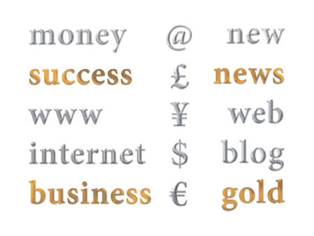 silver and gold business icon set