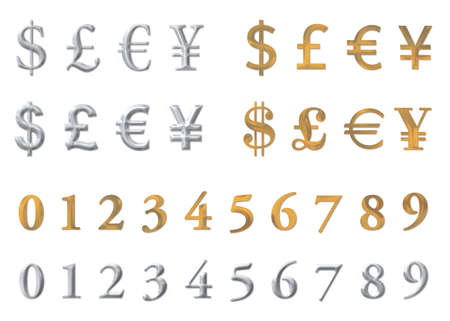 silver and gold currency symbol set  Stock Photo
