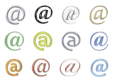 email signs icon set, in different colors and styles Stock Photo