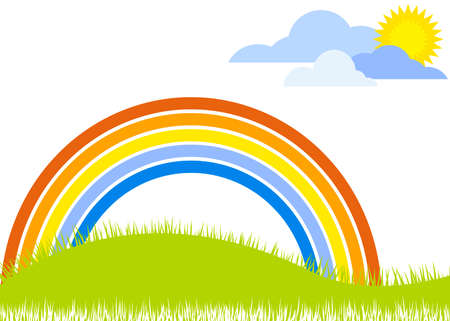 landscape with rainbow and grass