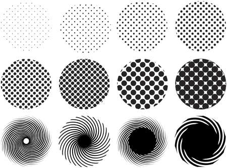 collection of halftone grid patterns