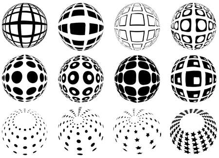 set of spheres with grid pattern