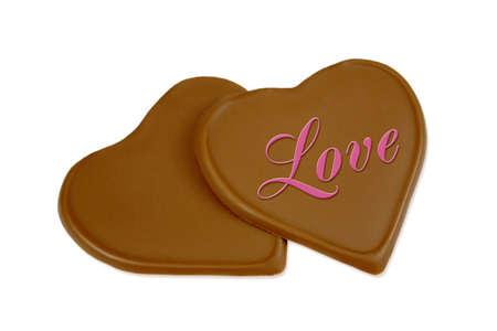 chocolate hearts isolated on white background Stock Photo
