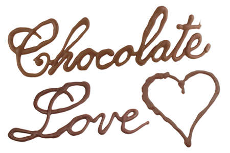 chocolate curls: Chocolate love, written with melted chocolate