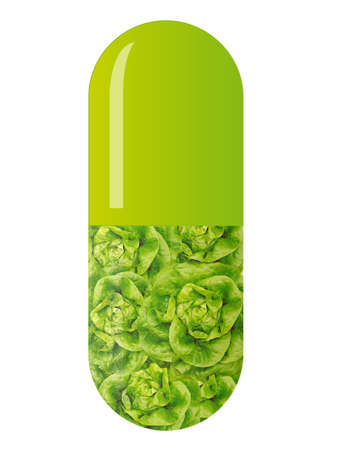 green capsule with salad, isolated on white photo