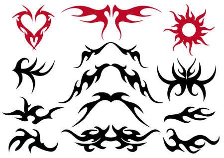 Tattoo design collection, vector artwork