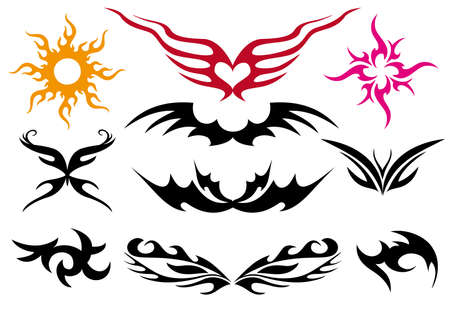Tattoo design set, vector artwork