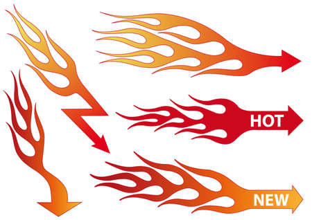 set of fire arrows, vector