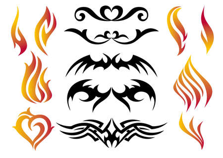fire tattoo set, vector Illustration