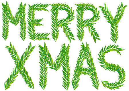 Merry xmas fir branch, christmas card, vector