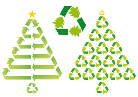 christmas trees with recycling symbols, vector Illustration