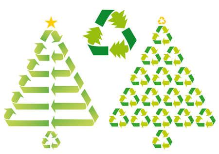 conciencia moral: los �rboles de Navidad con los s�mbolos de reciclaje, el vector Vectores