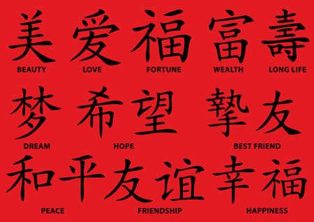 Set of chinese tattoo symbols, vector Illustration