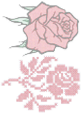 roses with dots, vector halftone pattern Vector
