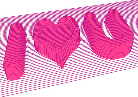 3d letters and heart shape, vector background Illustration