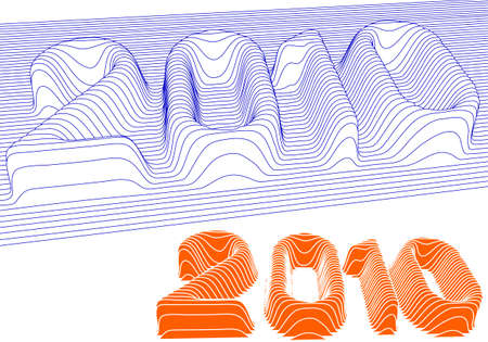 new year 2010, 3d vector background