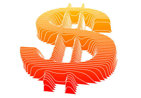 3d dollar symbol with texture, vector