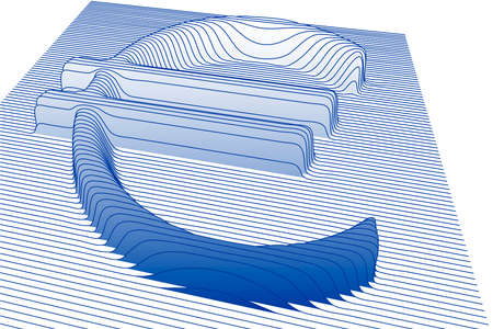 3d euro sign with line texture, vector