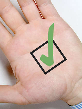 male hand with green tick symbol Stock Photo - 6447428