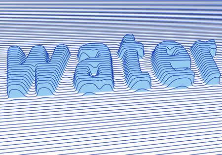 water with 3d letter Ilustração