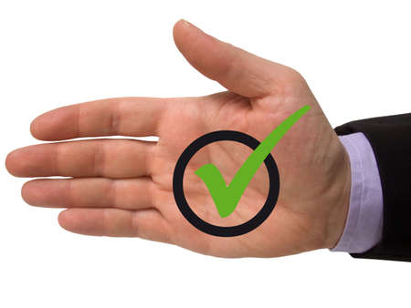 male hand with green tick symbol Stock Photo - 6496339