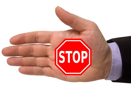 hand with red stop sign, isolated on white
