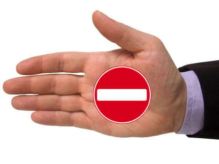 hand with no entry sign, isolated on white